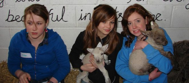 3 more girls with lambs